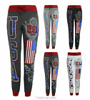NEW LADIES USA TRACKSUIT JOGGING BOTTOMS WOMENS PANTS JOGGERS TROUSERS