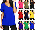 New Ladies Baggy Turn Up Short Sleeve Top Loose Fit Casual T-Shirt 8-26