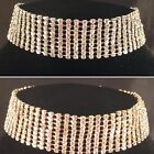 Gold/Silver Bling 9 Row Choker Necklace,bridal,bridesmaid,prom,party SV16-009