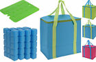 Insulated 20L Camping Picnic Cool Bag and Ice Brick Pack Block with 4 Ice Blocks