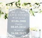 Our Love Story Wedding Sign He stole my heart 30 x 40 cm FREESTANDING Dove grey