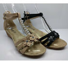 WOMENS LADIES DIAMANTE FLOWER SANDALS BEACH WEDGE SHOES WEDGES HEELS ANKLE SIZE