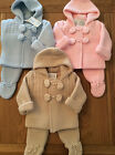 Portuguse spanish style baby knitted coat and trouser pompom set pink.blue beige