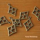 10pcs: Hollow Rhombus Charm Playing Card Suits 27mm X 17mm Metal Parts
