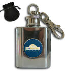 PERSONALISED YOUR COMPANY LOGO STAINLESS STEEL 1oz HIP FLASK KEYRING GIFT