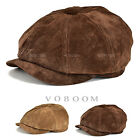 DISTRESSED LEATHER NEWSBOY CAP GATSBY CAP IVY GOLF DRIVING HAT BROWN LI
