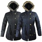New Ladies Womens Fur Hooded Zipped Parka Jacket Pocketed Coat Size 10 12 14 166
