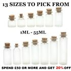 Clear Glass Empty Bottles With Cork Container Vials Wedding Favours (10 PACK)