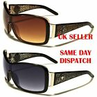 Kleo Shield Wrap Aviator Design Diamante Womens Sunglasses 100%UV400 LH5125