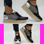 Womens Espadrill Lace Up Platform Wedge High Heel Oxford Shoes Ankle Boots Size