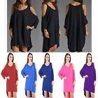 Women Cold Shoulder Oversized Baggy Dress Top One Size Fits 8-26