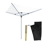 4 ARM ROTARY 40 50M AIRER CLOTH DRYER OUTDOOR LAUNDRY WASHING LINE GROUND SOCKET