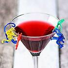 Animal Coloured Cocktail Glass decorations 7 different characters choose pack
