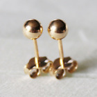 9ct Gold on 925 Sterling Silver Plain Ball Stud Earrings PAIR UK MADE 3 4 5 6mm