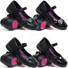 Girls School Shoes New Kids Infants Formal Party Evening Black Fancy Shoes Size