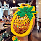 3D Pineapple Liquid Glitter Lanyard Silicone Case Cover For iPhone 6 6s 7 8 Plus