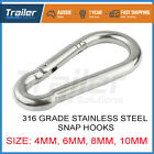 316 STAINLESS STEEL Snap Hook Clip Camping Climbing Lock Carabiner 4 6 8 10 mm