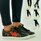New Womens Ladies Girls Floral Trainers Lace Up Plimsolls Shoes Size Uk 3-8