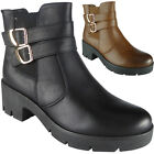 New Womens Ladies Buckle Strap Low Heel Chunky Ankle Chelsea Boots Shoes Size