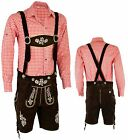 Mens Bavarian LEDERHOSEN Cowhide Leather with Matching Suspenders Shorts