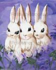 Three Little White Bunnies in Purple Lavender  Wall Fun Art Print Collection