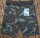 IRON CO. MENS MUD CAMO DUTY RATED 6-POCKET COTTON CARGO SHORTS W/BELT LIST $40