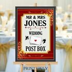 Personalised Wedding Post Box Sign Poster Print N188 (Print Only)