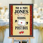 Personalised Wedding Post Box Sign Poster Print N204 (Print Only)