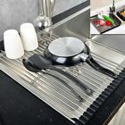 Over the Sink Dish Roll-Up Drying Rack Drainer Stainless Steel Kitchen Shelf