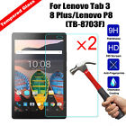 2Pcs Tempered Glass Screen Protector For Lenovo Tab 3 8 Plus/Lenovo P8(TB-8703F)