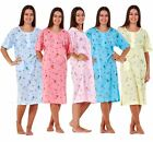 Ladies Women Nightwear Crew Neck Button Floral Print Short Sleeve POCKET Nightie