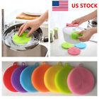 1-5X US Multi-function Silicone Dish Washing Cleaning Brush Sponge Cleaner Tools