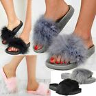 Womens Ladies Flat Faux Fur Slipper Sliders Slip On Comfy Sandals Flip Flop Size