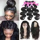 Brazilian Body Wave Humanhair Bundles with Pre Plucked 360 Lace Frontal Closure