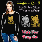 Fashion Craft Iron On LUCKY CAT Real Flakeless Silver / Gold Glitter Transfer