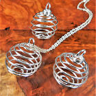Cage Necklace Flexible Gemstone Coil Pendant Silver LR11 Fill With Crystals