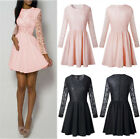 UK Womens Lace Long Sleeve Swing Zipper Skater Ladies Casual Evening Party Dress