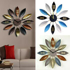 Creative Metal Leaf Wall Clock European Modern Design Watch Bedroom Home Decor