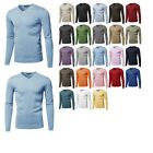 Внешний вид - FashionOutfit Men's Top Casual Solid Soft Knitted Long Sleeves V-neck Sweater