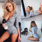 USA Women Clubwear Jumpsuit Romper Trousers Playsuit Long Sleeve V-Neck Bodycon