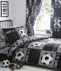KIDS BOYS BEDROOM BEDDING DUVET QUILT COVER SET FOOTBALL BLACK WHITE GREY SHOOT