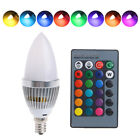E14 3W RGB LED 15 Colors Changing Candle Light  Bulb Lamp&Remote Control