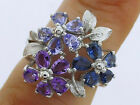 R192 Real 9K Yellow,Rose or White GOLD Multi Gem BLOSSOM Bouquet Cocktail Ring