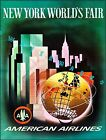 New York 1964 World's Fair American Airline Vintage Poster Airline Travel Print