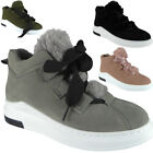 Womens Ladies High Hi Top Lace Up Flat Pumps Sports Sneakers Trainers Shoes Size