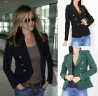 Women Ladies Double Breasted Tailored V Neck Gold Button Blazer Jacket Office UK