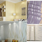 Luxury 3d Crescent Wave Stripes Embossed Non-woven Flocking Wallpaper Rolls 10m
