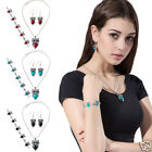 Women Chic Retro Owl Pendant Jewelry Set Owl Necklace + Bracelet + Drop Earrings
