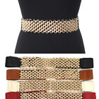 WOMEN ELASTIC Bling Gold Metal Chain WAIST WIDE BELT Stretch Western Fashion