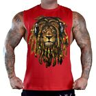 Men's Dreadlocks Rasta Lion Red T-Shirt Tank Top Workout Tee Reggae Jamaican EDM